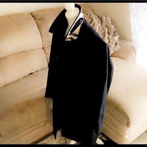 BURBERRY Black Wool Blend Pea Coat